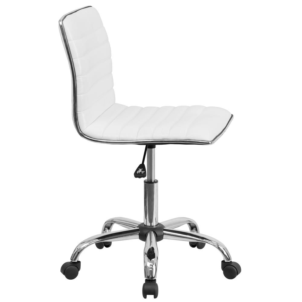 Low Back Designer Armless White Ribbed Swivel Task Office Chair. Picture 3
