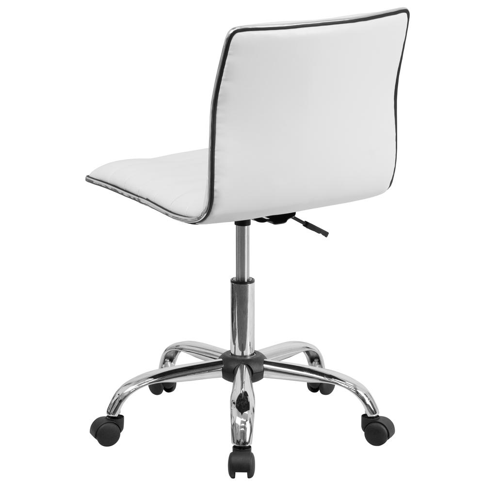 Low Back Designer Armless White Ribbed Swivel Task Office Chair. Picture 4