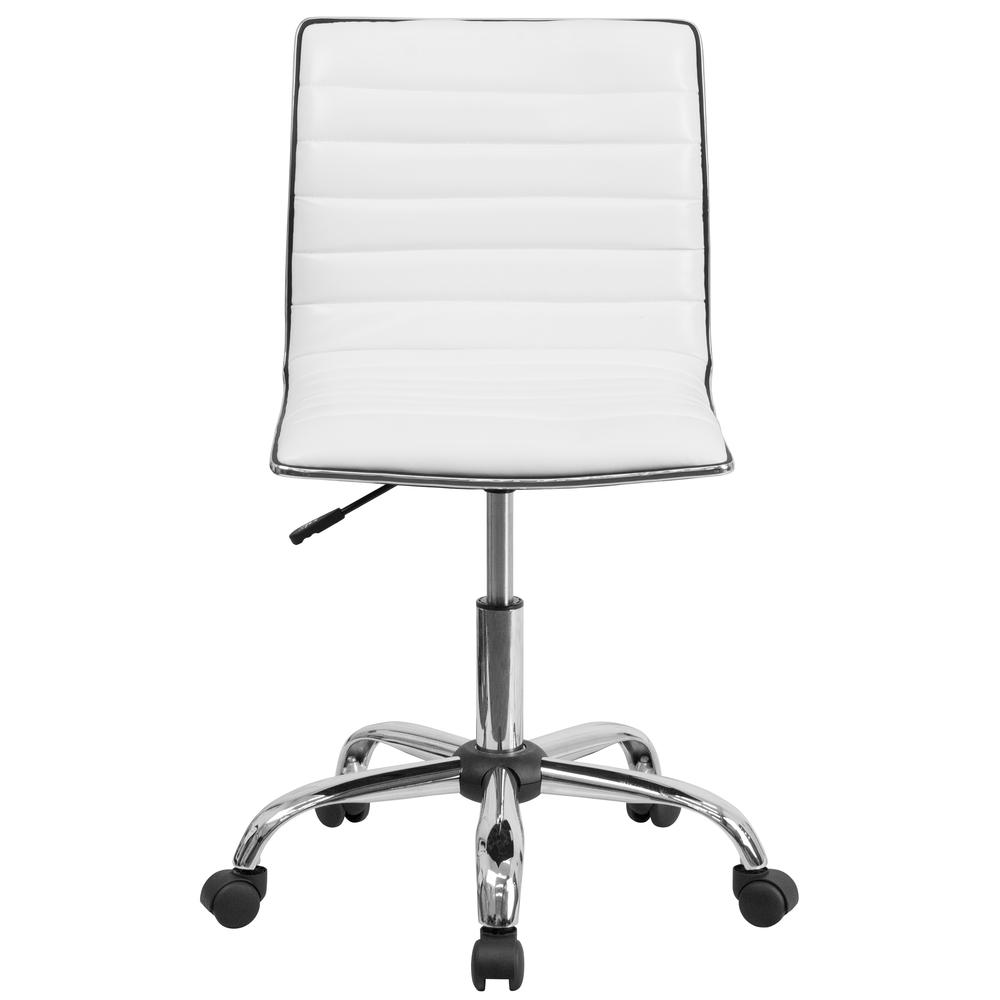 Low Back Designer Armless White Ribbed Swivel Task Office Chair. Picture 5