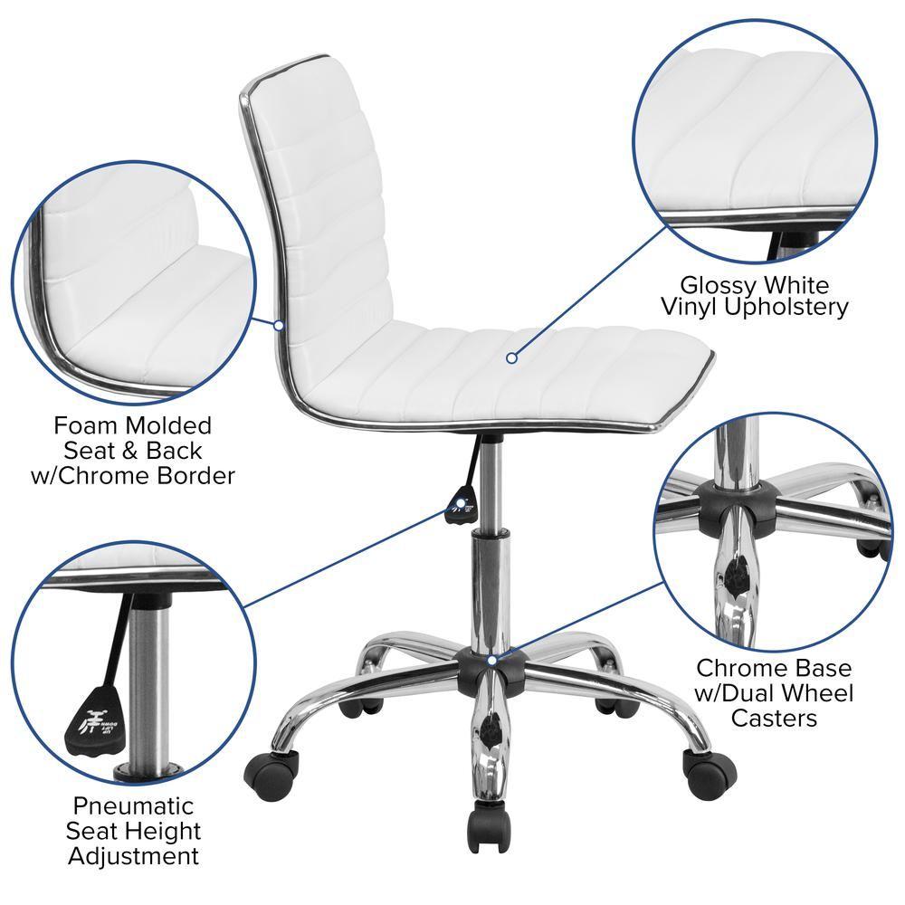 Low Back Designer Armless White Ribbed Swivel Task Office Chair. Picture 6