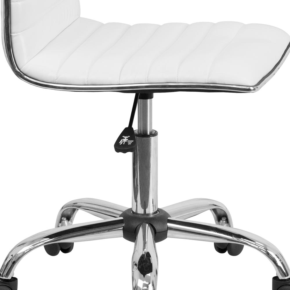 Low Back Designer Armless White Ribbed Swivel Task Office Chair. Picture 7