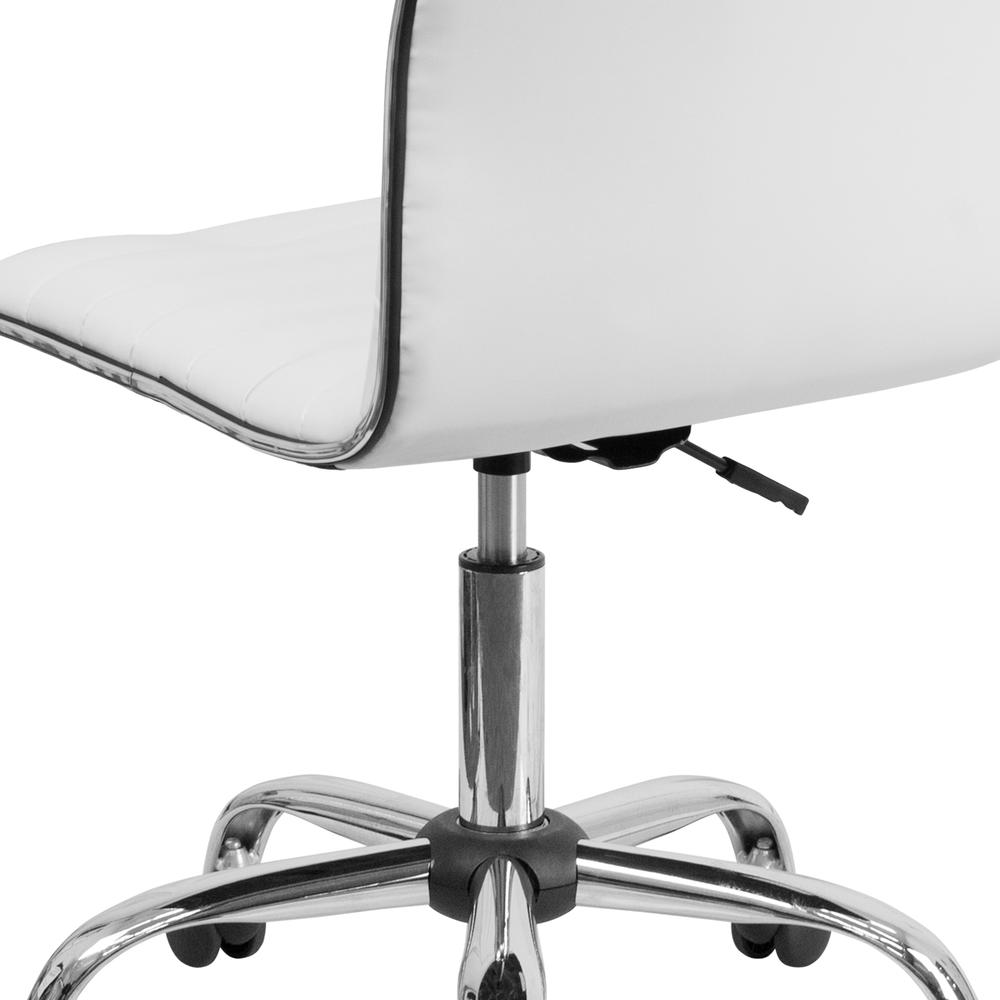 Low Back Designer Armless White Ribbed Swivel Task Office Chair. Picture 8