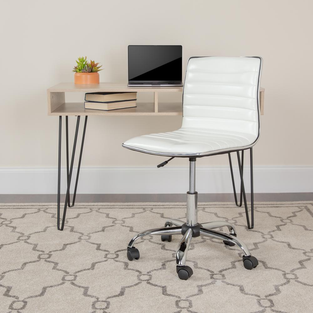 Low Back Designer Armless White Ribbed Swivel Task Office Chair. Picture 9