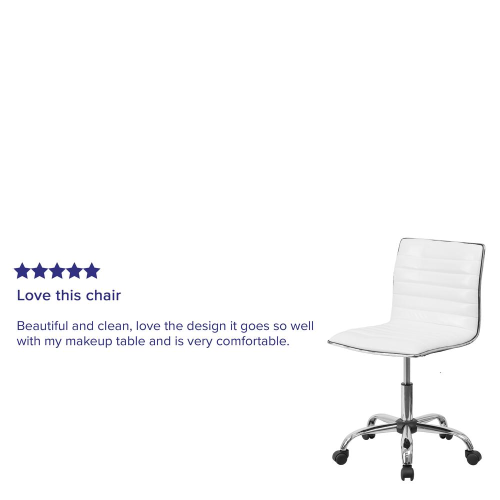 Low Back Designer Armless White Ribbed Swivel Task Office Chair. Picture 10