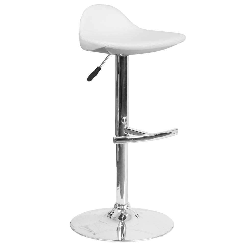 Contemporary White Vinyl Adjustable Height Saddle Style Barstool with Chrome Base. Picture 1