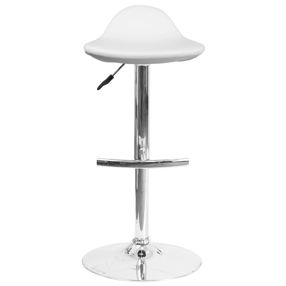 Contemporary White Vinyl Adjustable Height Saddle Style Barstool with Chrome Base. Picture 4