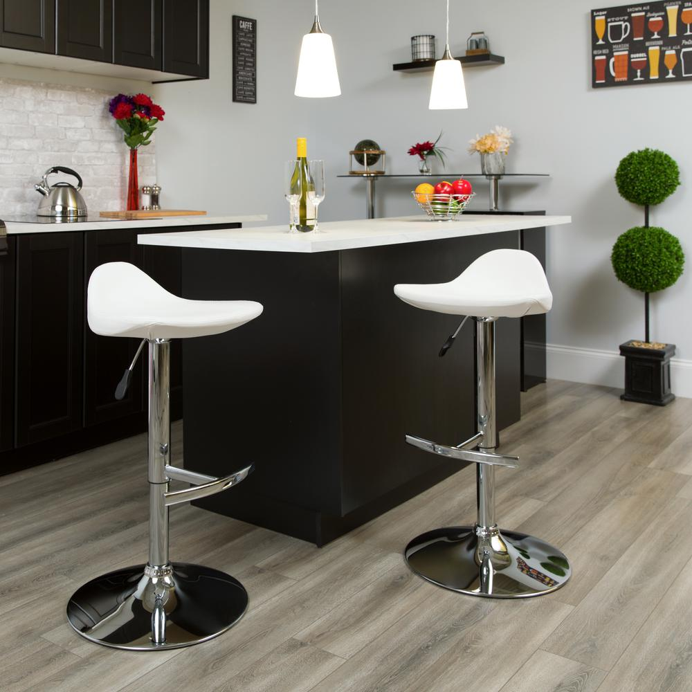 Contemporary White Vinyl Adjustable Height Saddle Style Barstool with Chrome Base. Picture 5