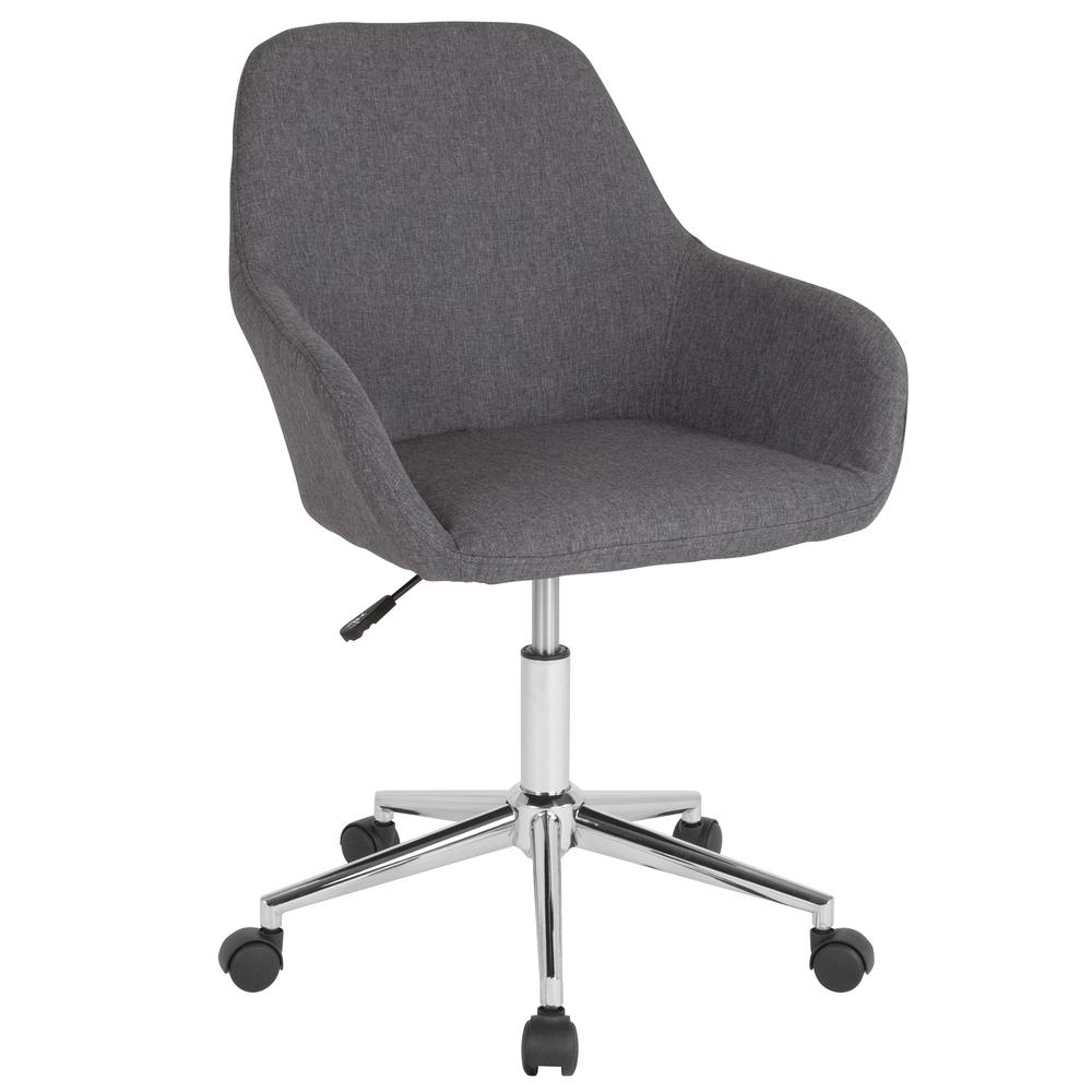 Home and Office Mid-Back Chair in Dark Gray Fabric. Picture 1