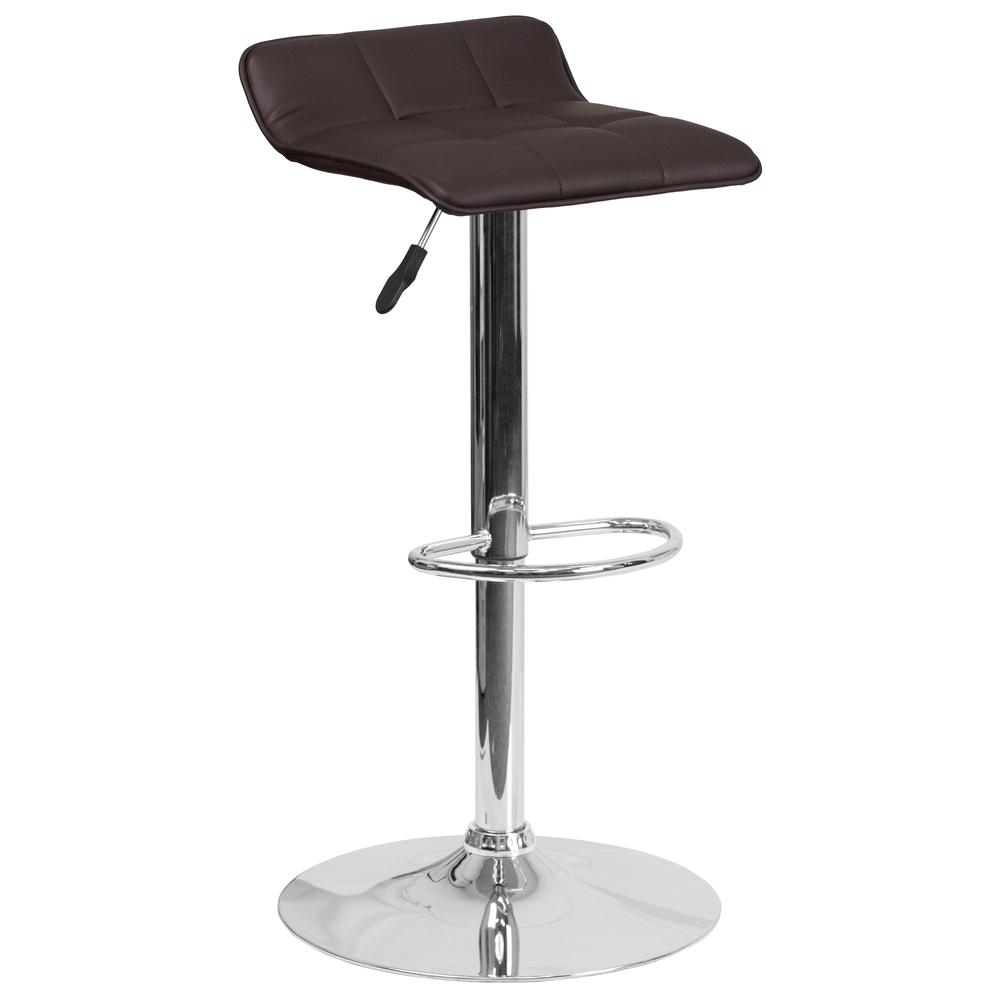 Contemporary Brown Vinyl Adjustable Height Barstool with Quilted Wave Seat and Chrome Base. Picture 1