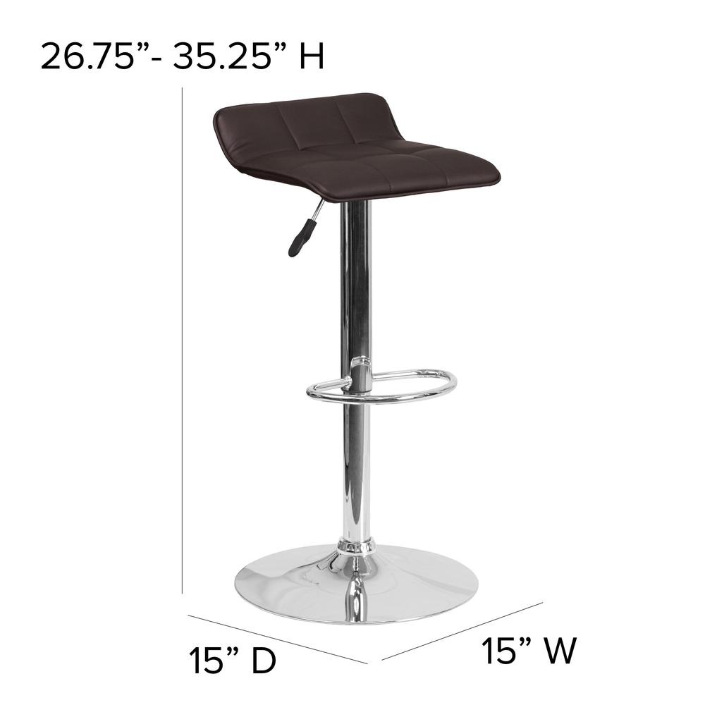 Contemporary Brown Vinyl Adjustable Height Barstool with Quilted Wave Seat and Chrome Base. Picture 2