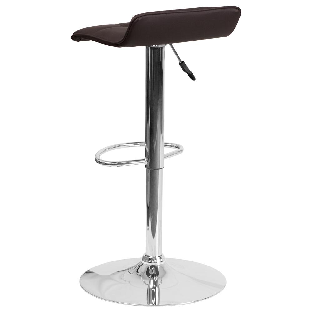 Contemporary Brown Vinyl Adjustable Height Barstool with Quilted Wave Seat and Chrome Base. Picture 4