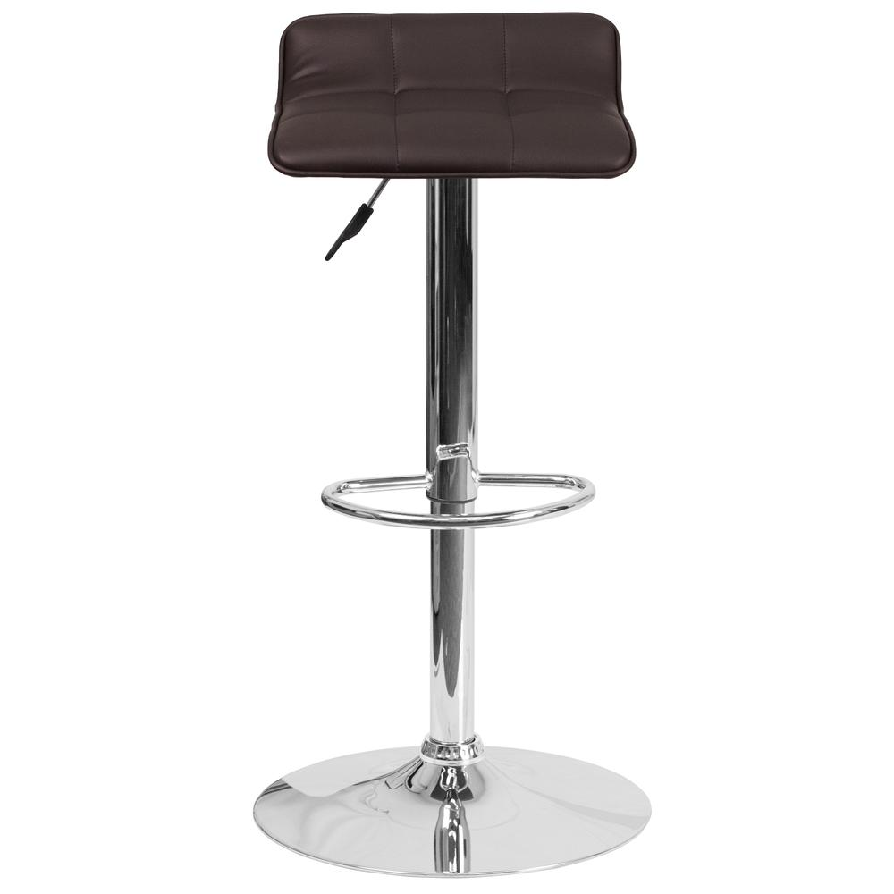 Contemporary Brown Vinyl Adjustable Height Barstool with Quilted Wave Seat and Chrome Base. Picture 5