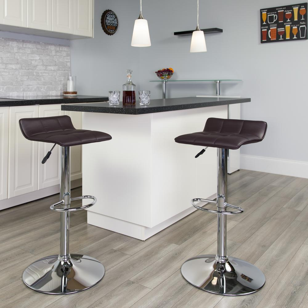 Contemporary Brown Vinyl Adjustable Height Barstool with Quilted Wave Seat and Chrome Base. Picture 6