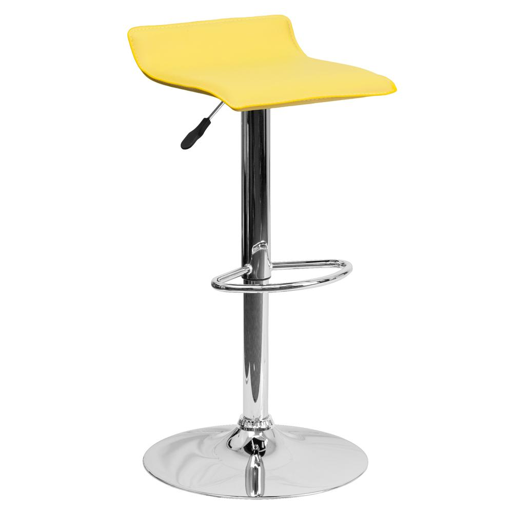 Contemporary Yellow Vinyl Adjustable Height Barstool with Solid Wave Seat and Chrome Base. Picture 1