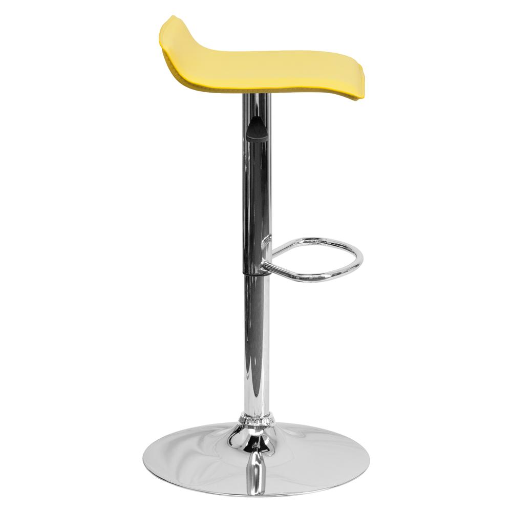 Contemporary Yellow Vinyl Adjustable Height Barstool with Solid Wave Seat and Chrome Base. Picture 2