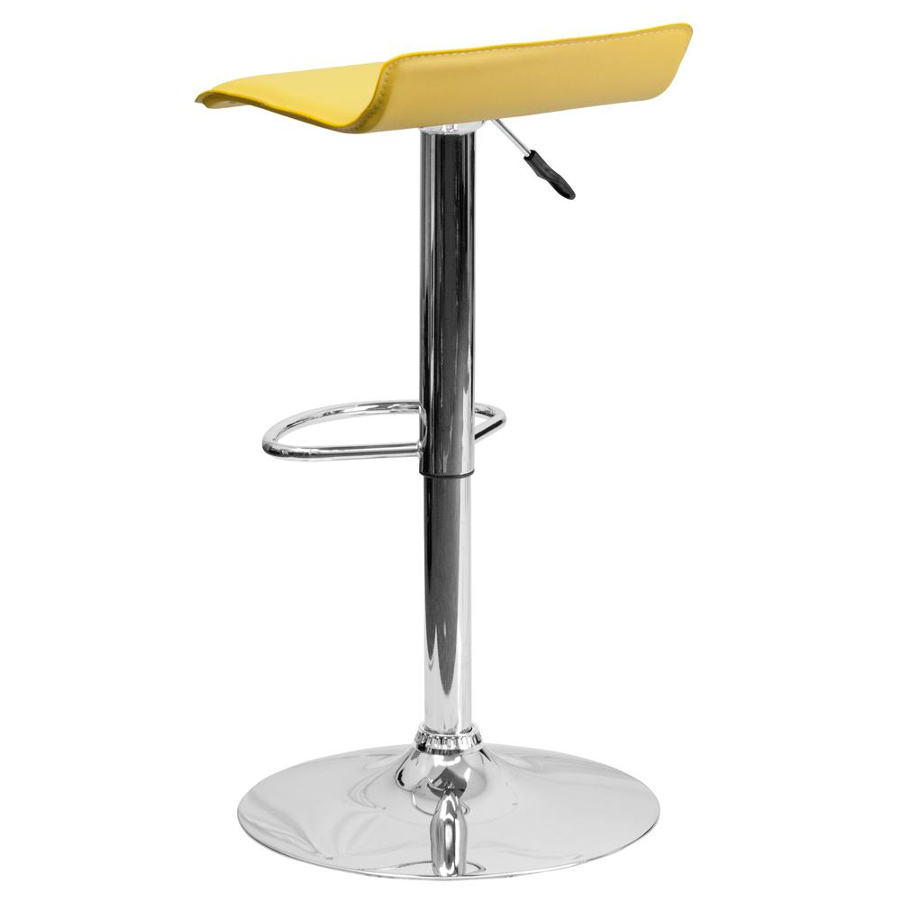 Contemporary Yellow Vinyl Adjustable Height Barstool with Solid Wave Seat and Chrome Base. Picture 3