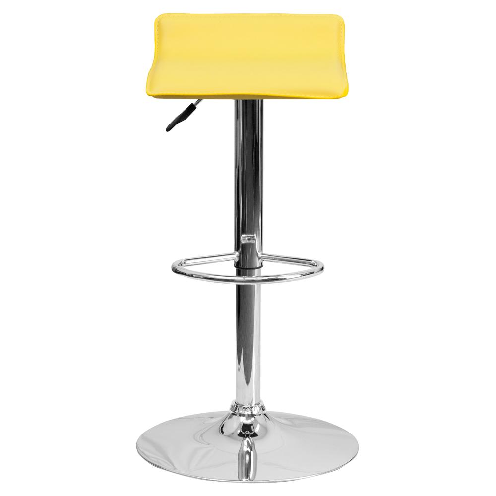 Contemporary Yellow Vinyl Adjustable Height Barstool with Solid Wave Seat and Chrome Base. Picture 4