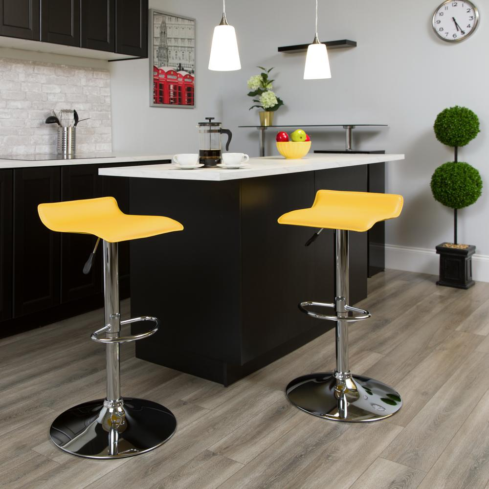 Contemporary Yellow Vinyl Adjustable Height Barstool with Solid Wave Seat and Chrome Base. Picture 5