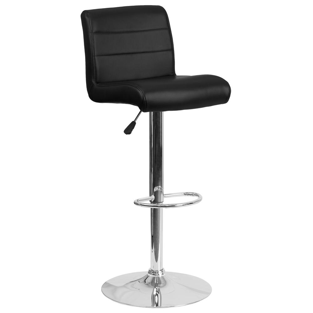 Contemporary Black Vinyl Adjustable Height Barstool With
