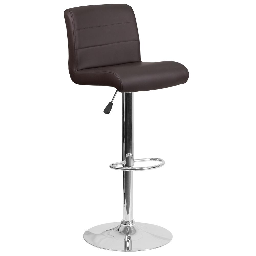 Contemporary Brown Vinyl Adjustable Height Barstool with Rolled Seat and Chrome Base. Picture 1