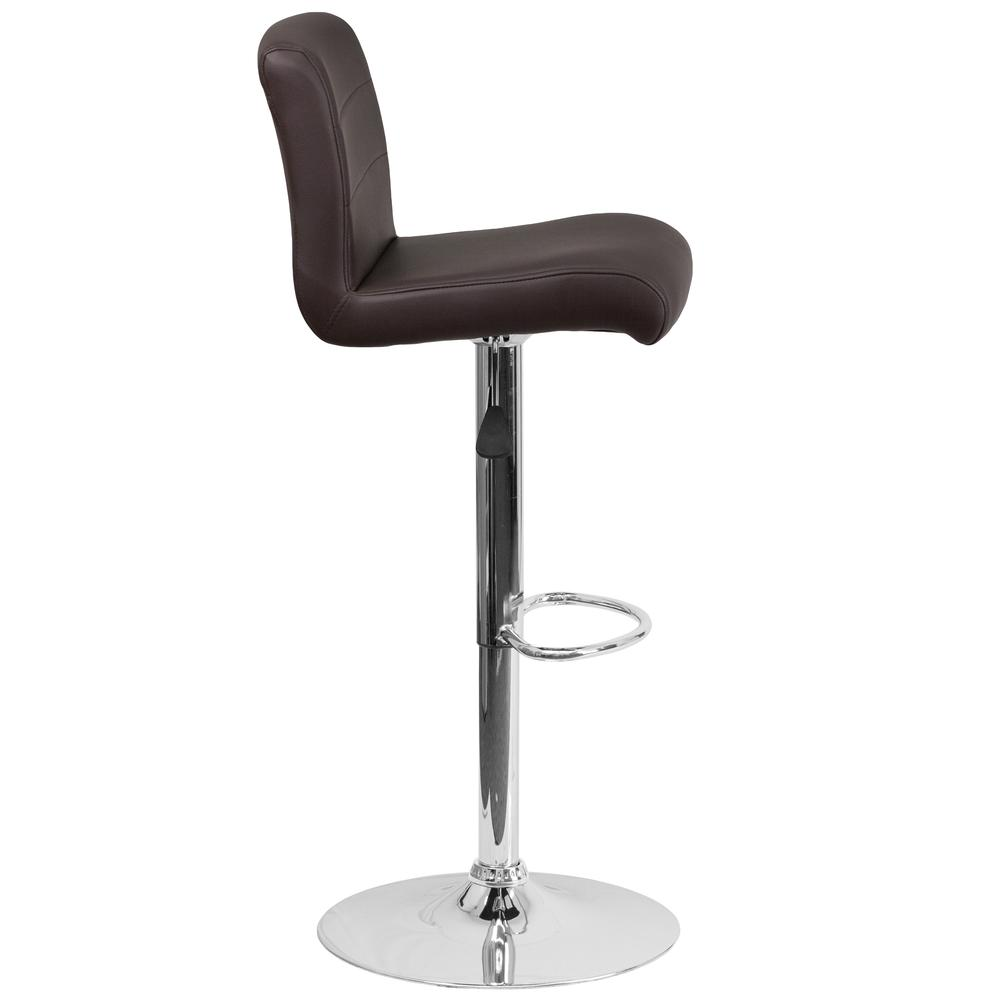 Contemporary Brown Vinyl Adjustable Height Barstool with Rolled Seat and Chrome Base. Picture 2