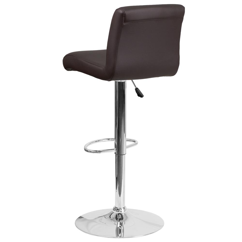 Contemporary Brown Vinyl Adjustable Height Barstool with Rolled Seat and Chrome Base. Picture 3