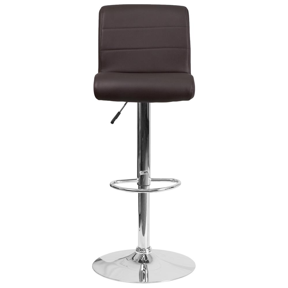 Contemporary Brown Vinyl Adjustable Height Barstool with Rolled Seat and Chrome Base. Picture 4