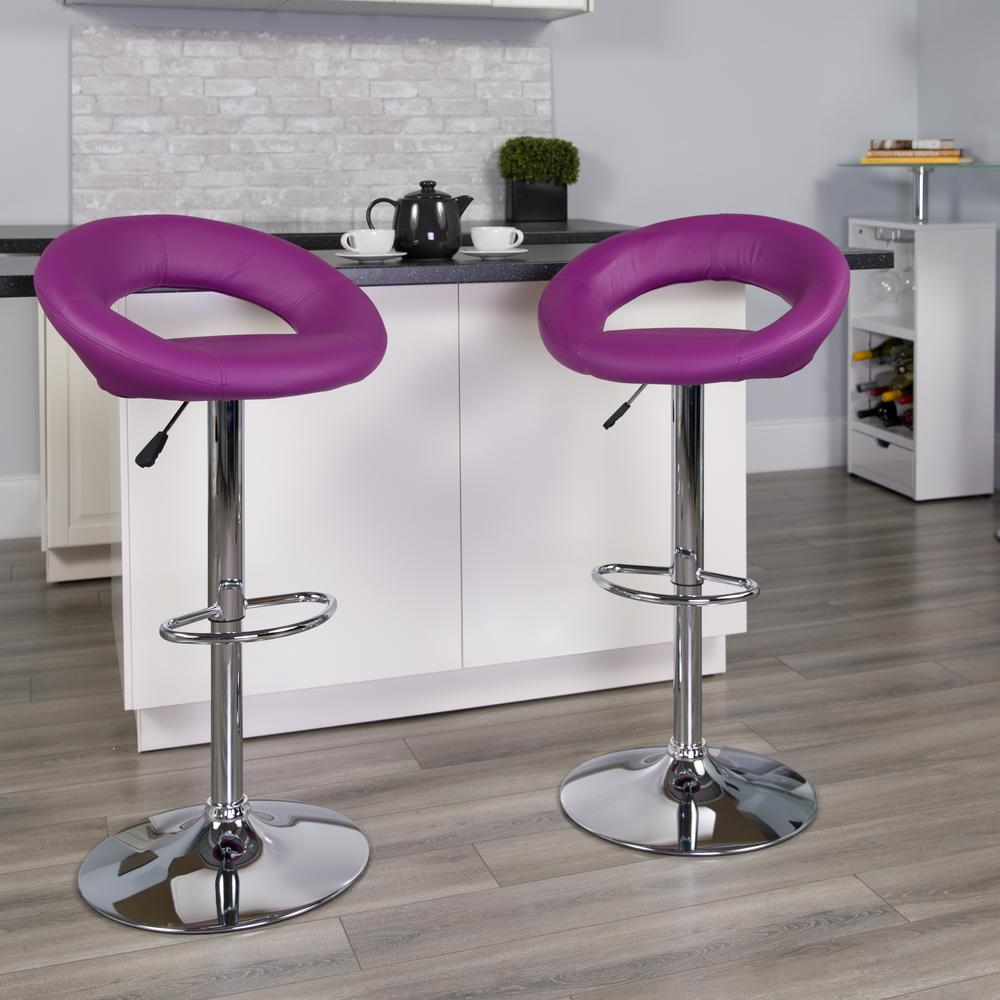 Contemporary Purple Vinyl Rounded Orbit-Style Back Adjustable Height Barstool with Chrome Base. Picture 5
