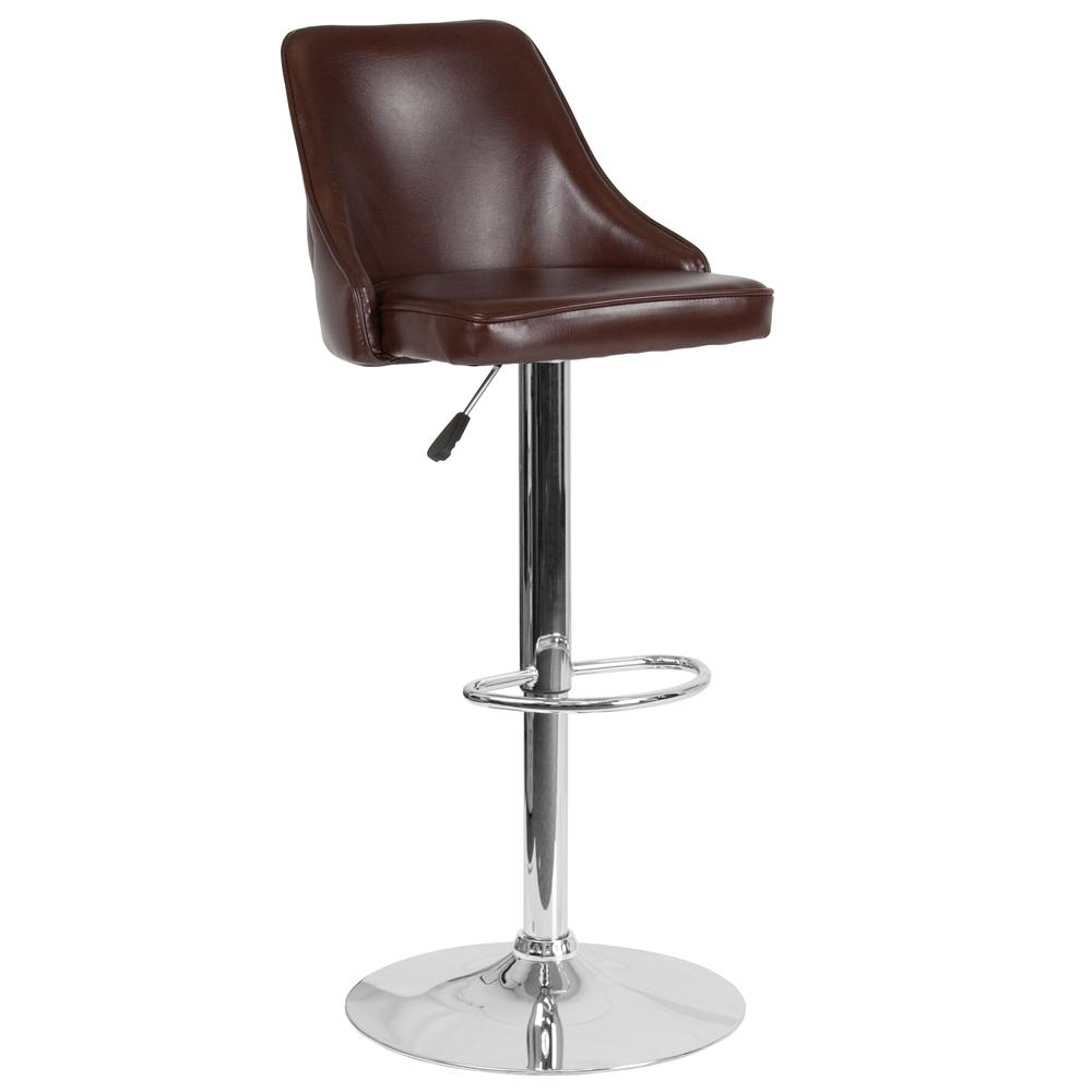 Trieste Contemporary Adjustable Height Barstool In Brown