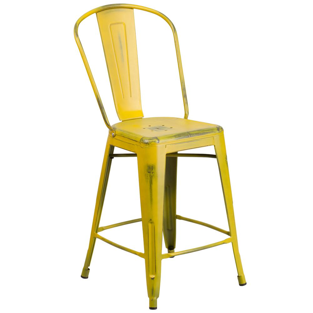 """Commercial Grade 24"""" High Distressed Yellow Metal Indoor-Outdoor Counter Height Stool with Back [ET-3534-24-YL-GG]. Picture 1"""