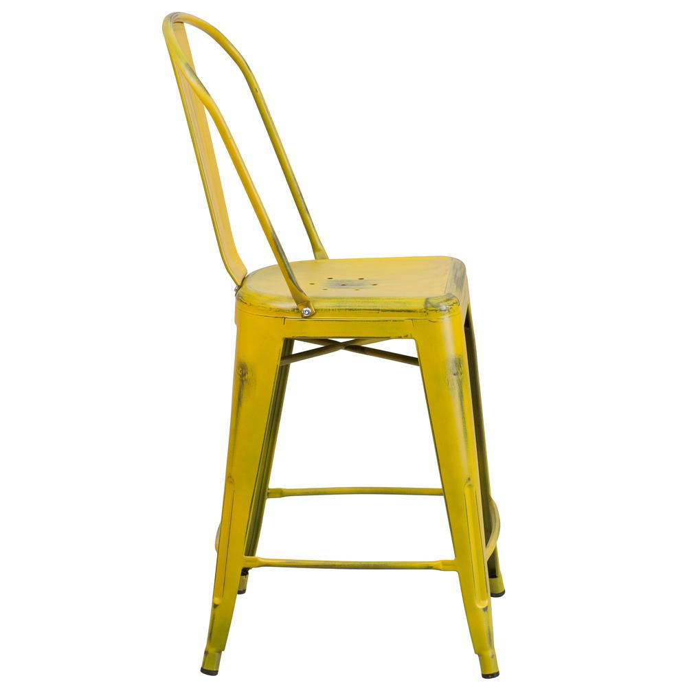 """Commercial Grade 24"""" High Distressed Yellow Metal Indoor-Outdoor Counter Height Stool with Back [ET-3534-24-YL-GG]. Picture 2"""