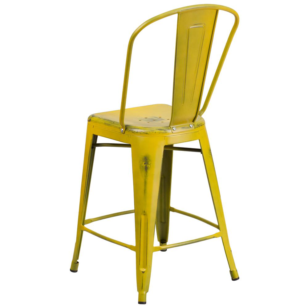 """Commercial Grade 24"""" High Distressed Yellow Metal Indoor-Outdoor Counter Height Stool with Back [ET-3534-24-YL-GG]. Picture 3"""