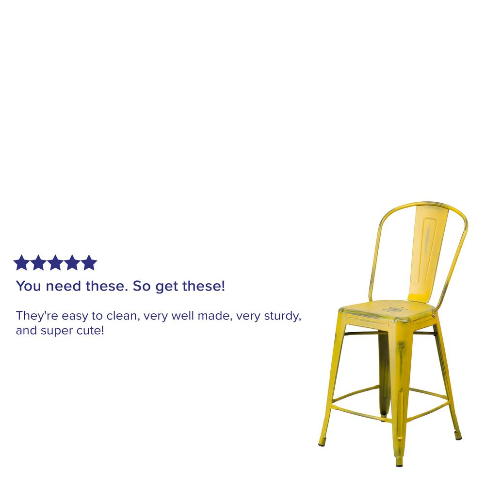 """Commercial Grade 24"""" High Distressed Yellow Metal Indoor-Outdoor Counter Height Stool with Back [ET-3534-24-YL-GG]. Picture 5"""