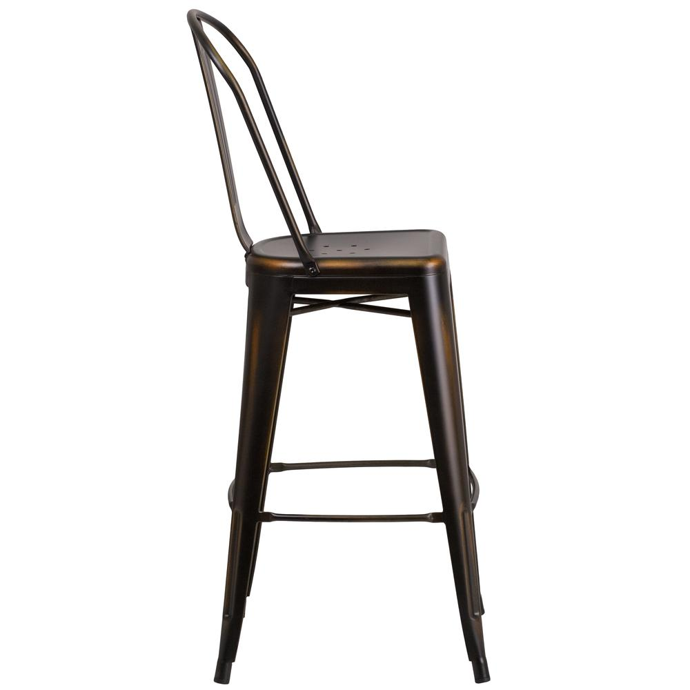 30 High Distressed Copper Metal Indoor Outdoor Barstool