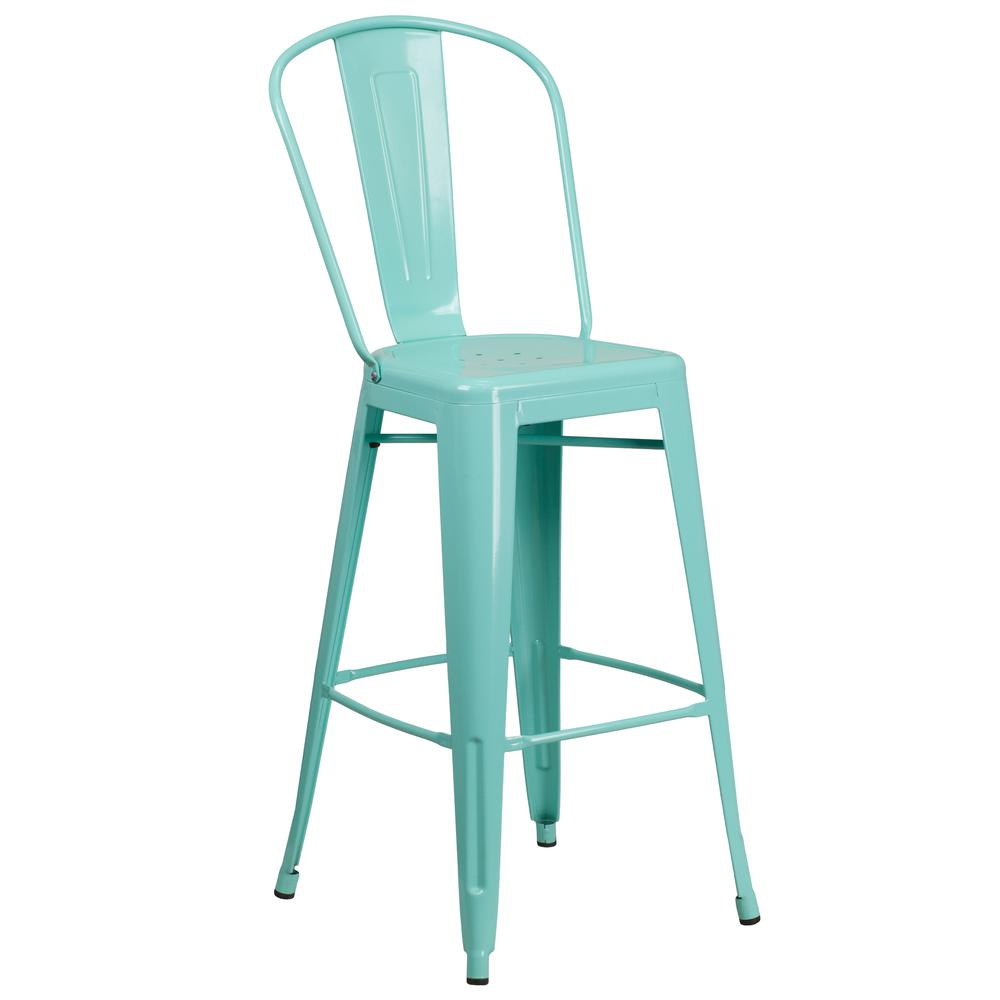 "Commercial Grade 30"" High Mint Green Metal Indoor-Outdoor Barstool with Back [ET-3534-30-MINT-GG]. Picture 1"