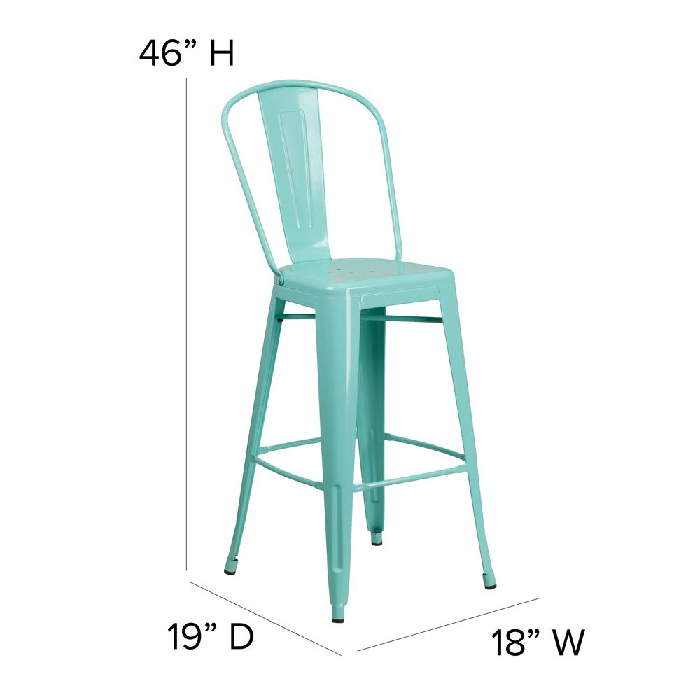 "Commercial Grade 30"" High Mint Green Metal Indoor-Outdoor Barstool with Back [ET-3534-30-MINT-GG]. Picture 2"