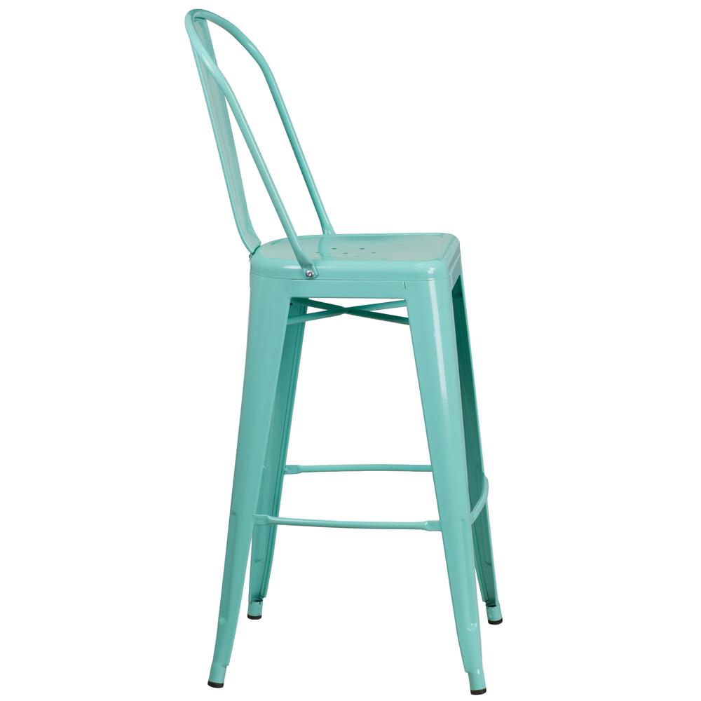 "Commercial Grade 30"" High Mint Green Metal Indoor-Outdoor Barstool with Back [ET-3534-30-MINT-GG]. Picture 3"