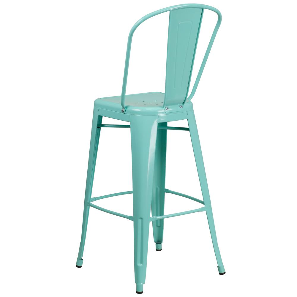 "Commercial Grade 30"" High Mint Green Metal Indoor-Outdoor Barstool with Back [ET-3534-30-MINT-GG]. Picture 4"