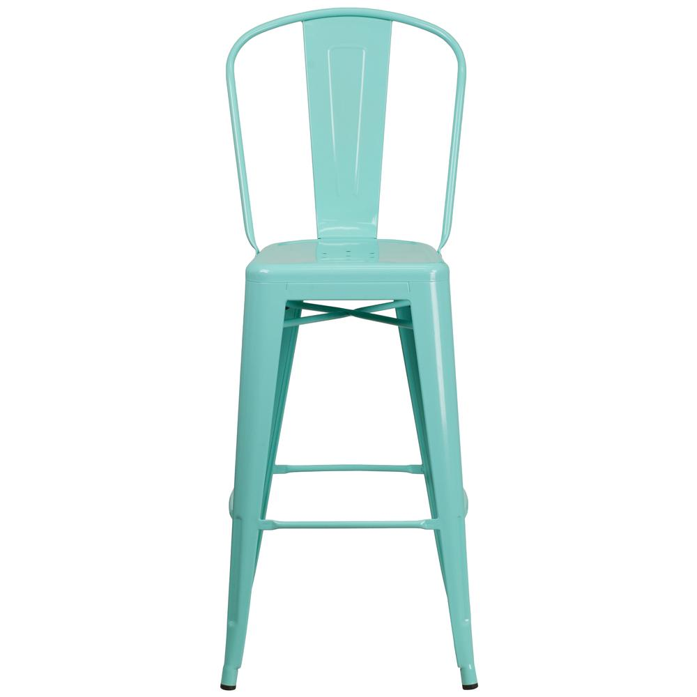 "Commercial Grade 30"" High Mint Green Metal Indoor-Outdoor Barstool with Back [ET-3534-30-MINT-GG]. Picture 5"