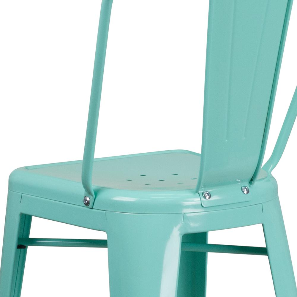 "Commercial Grade 30"" High Mint Green Metal Indoor-Outdoor Barstool with Back [ET-3534-30-MINT-GG]. Picture 7"