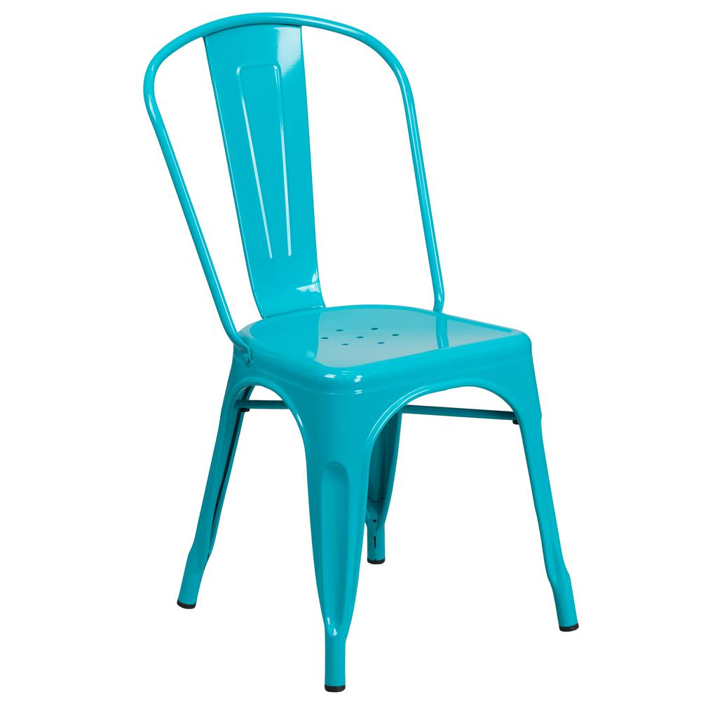 Commercial Grade Crystal Teal-Blue Metal Indoor-Outdoor Stackable Chair [ET-3534-CB-GG]. Picture 1