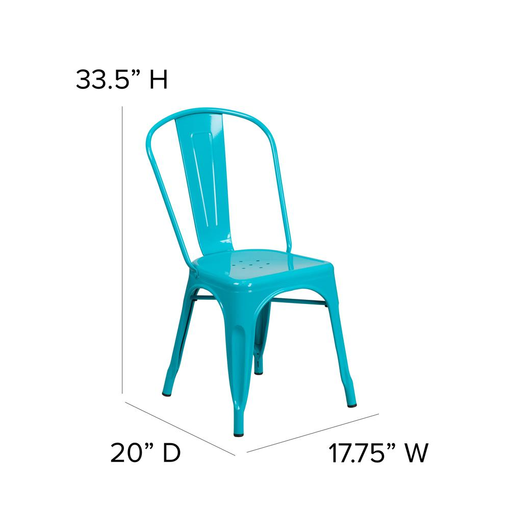 Commercial Grade Crystal Teal-Blue Metal Indoor-Outdoor Stackable Chair [ET-3534-CB-GG]. Picture 2