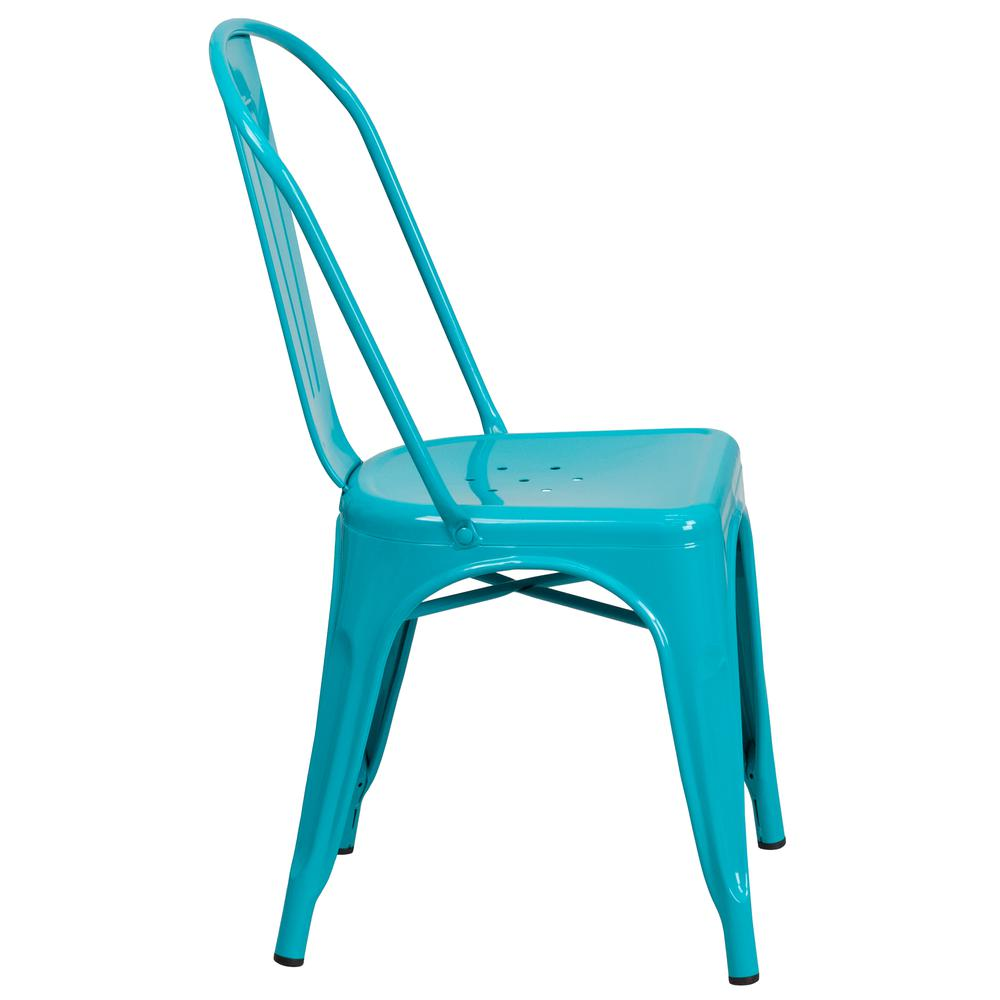 Commercial Grade Crystal Teal-Blue Metal Indoor-Outdoor Stackable Chair [ET-3534-CB-GG]. Picture 3