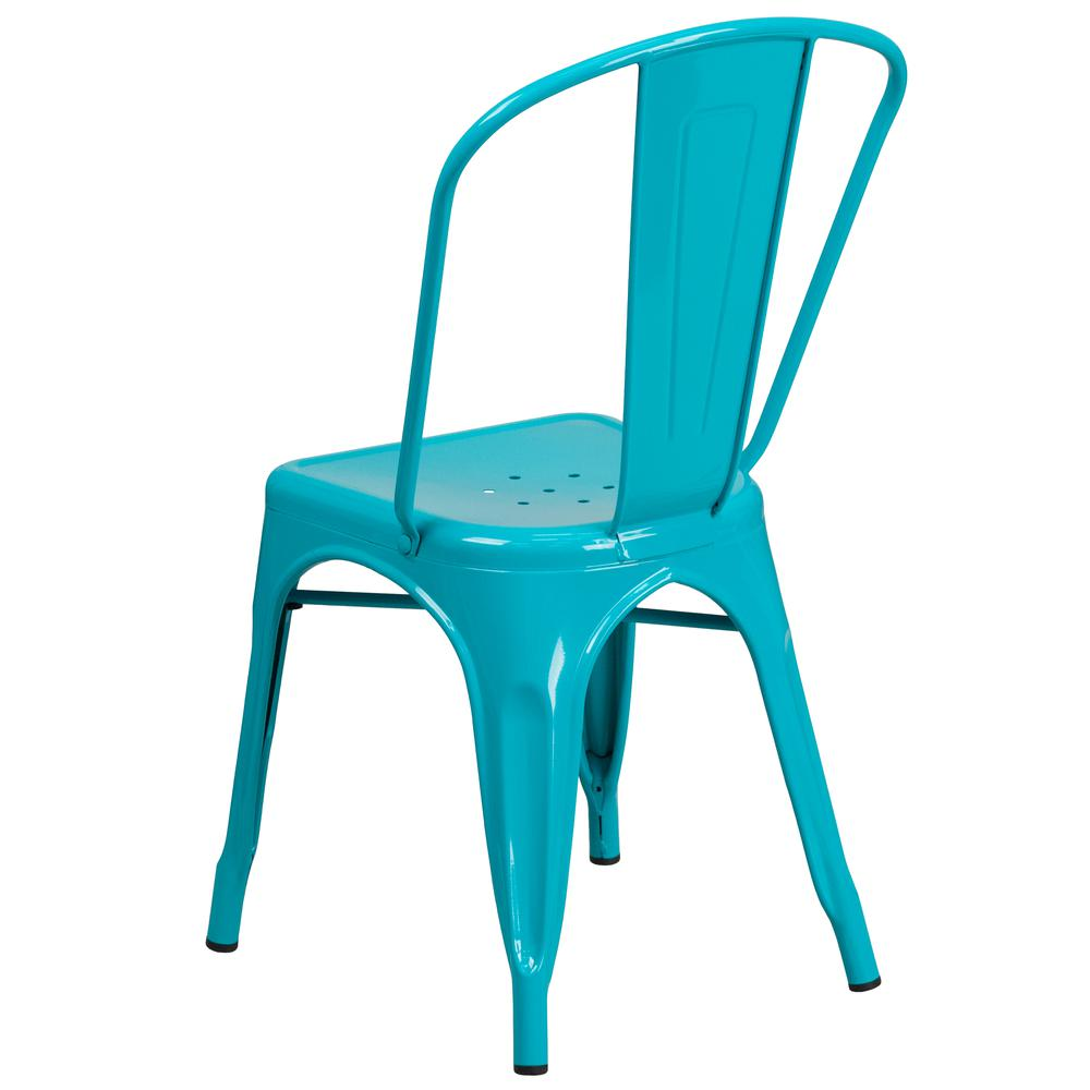 Commercial Grade Crystal Teal-Blue Metal Indoor-Outdoor Stackable Chair [ET-3534-CB-GG]. Picture 4