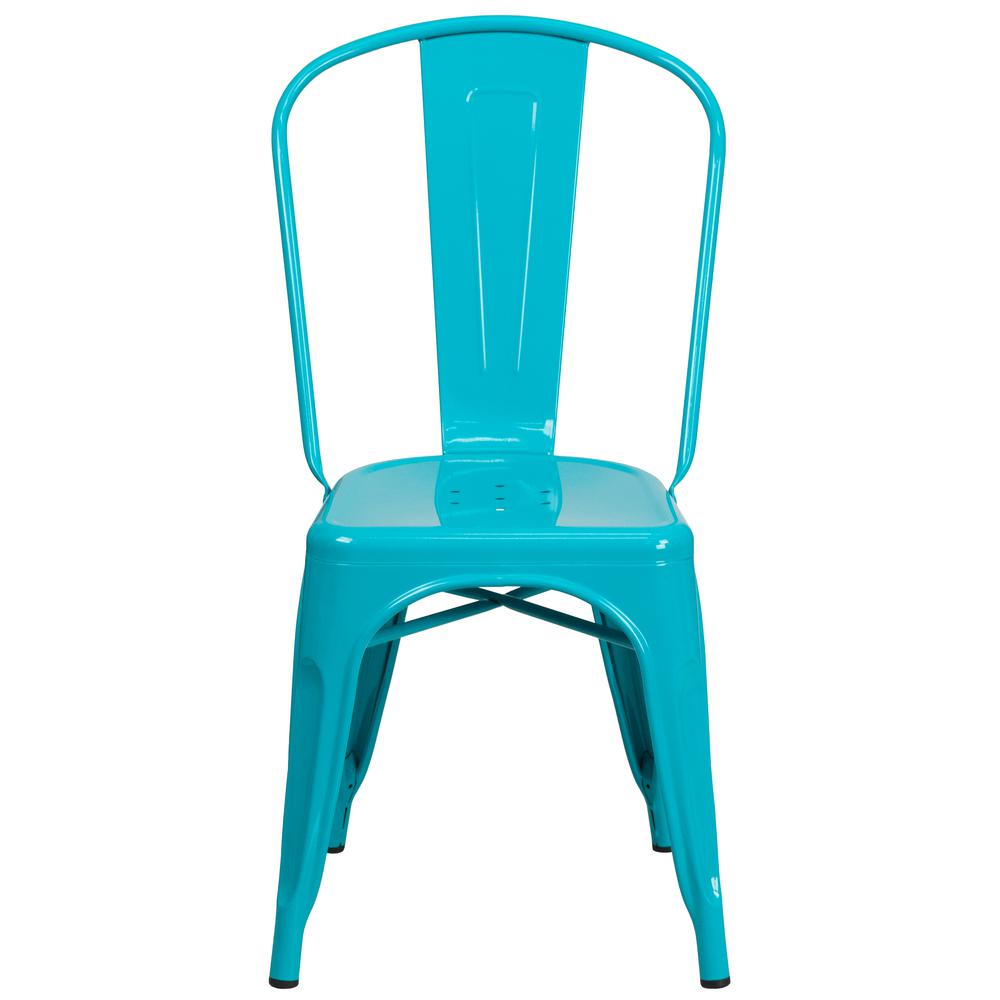 Commercial Grade Crystal Teal-Blue Metal Indoor-Outdoor Stackable Chair [ET-3534-CB-GG]. Picture 5