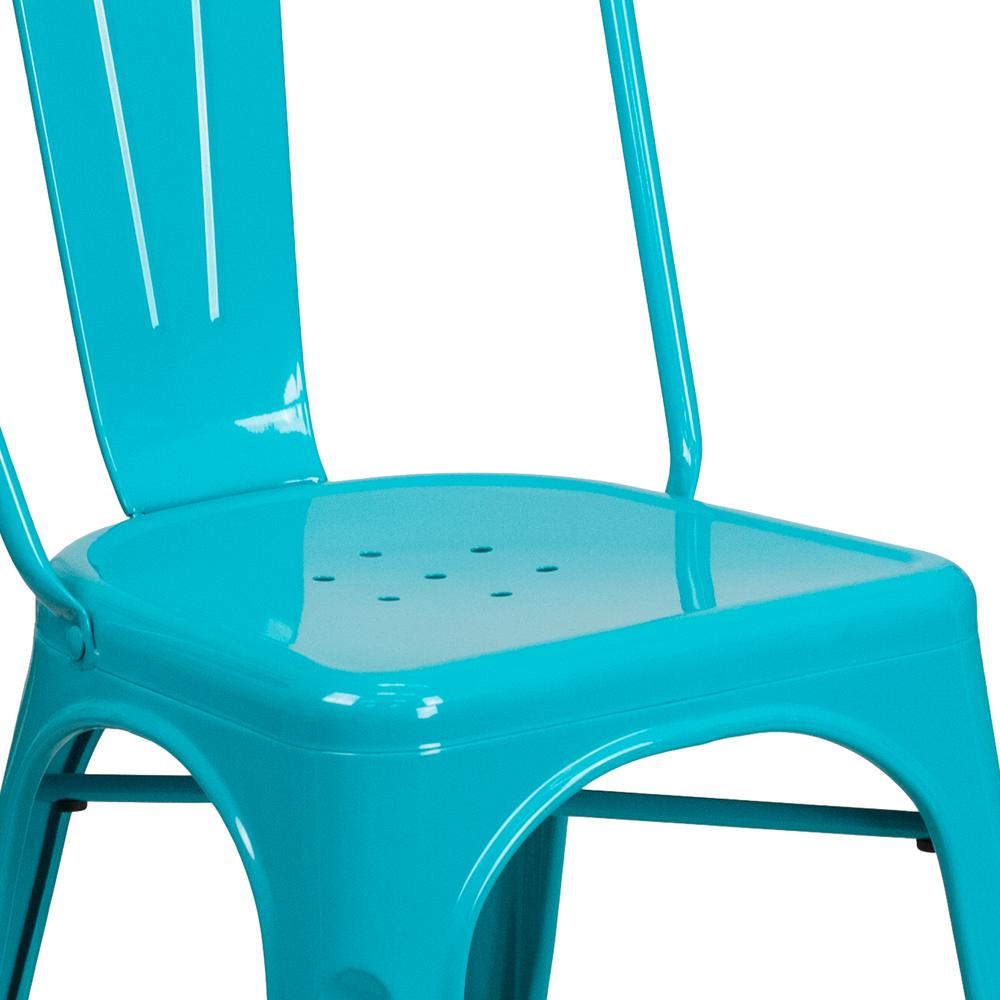 Commercial Grade Crystal Teal-Blue Metal Indoor-Outdoor Stackable Chair [ET-3534-CB-GG]. Picture 6
