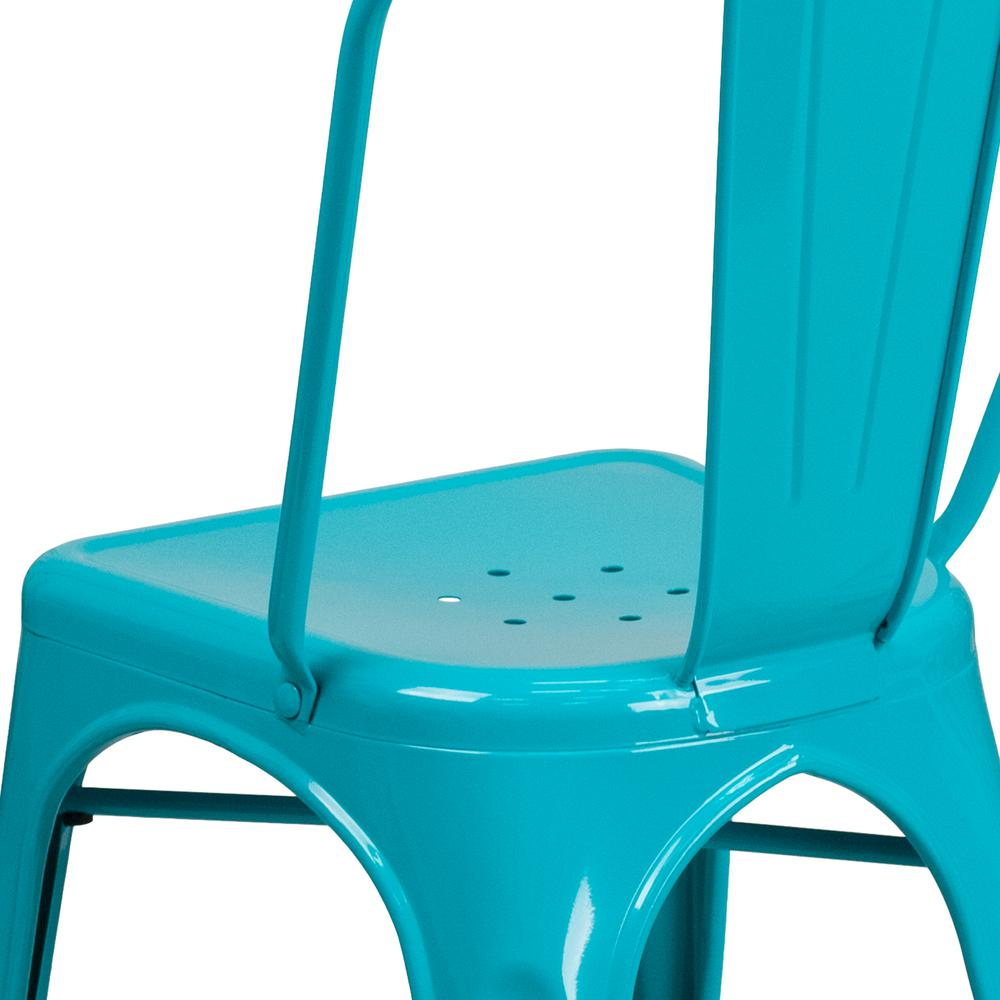 Commercial Grade Crystal Teal-Blue Metal Indoor-Outdoor Stackable Chair [ET-3534-CB-GG]. Picture 7