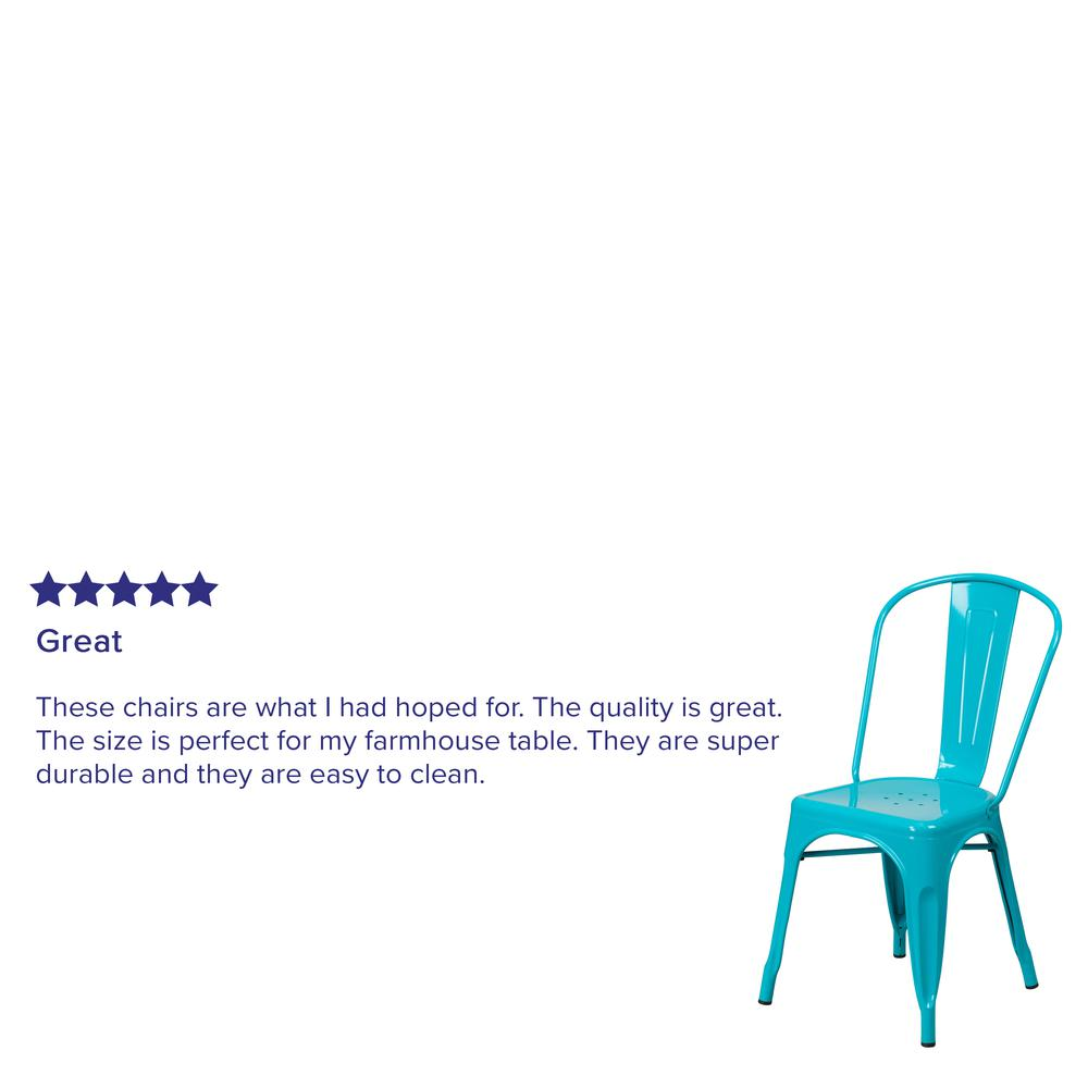Commercial Grade Crystal Teal-Blue Metal Indoor-Outdoor Stackable Chair [ET-3534-CB-GG]. Picture 8