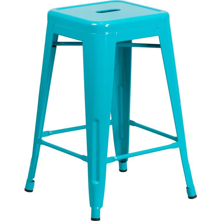 "Commercial Grade 24"" High Backless Crystal Teal-Blue Indoor-Outdoor Counter Height Stool [ET-BT3503-24-CB-GG]"