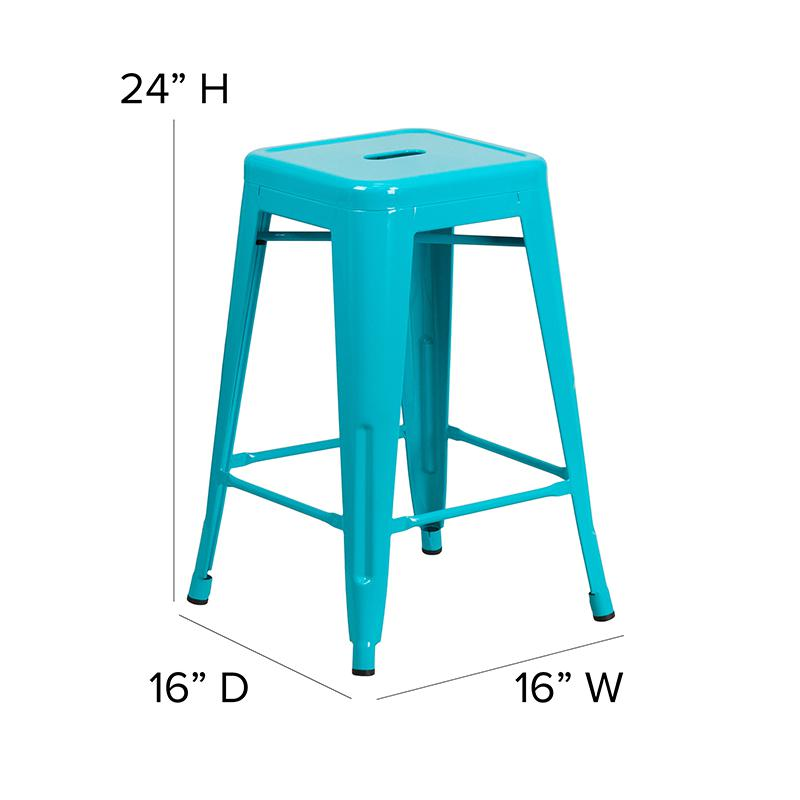 """Commercial Grade 24"""" High Backless Crystal Teal-Blue Indoor-Outdoor Counter Height Stool [ET-BT3503-24-CB-GG]. Picture 2"""